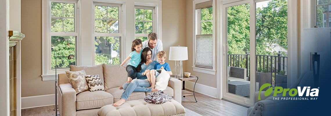 family in room with beautiful windows by ProVia